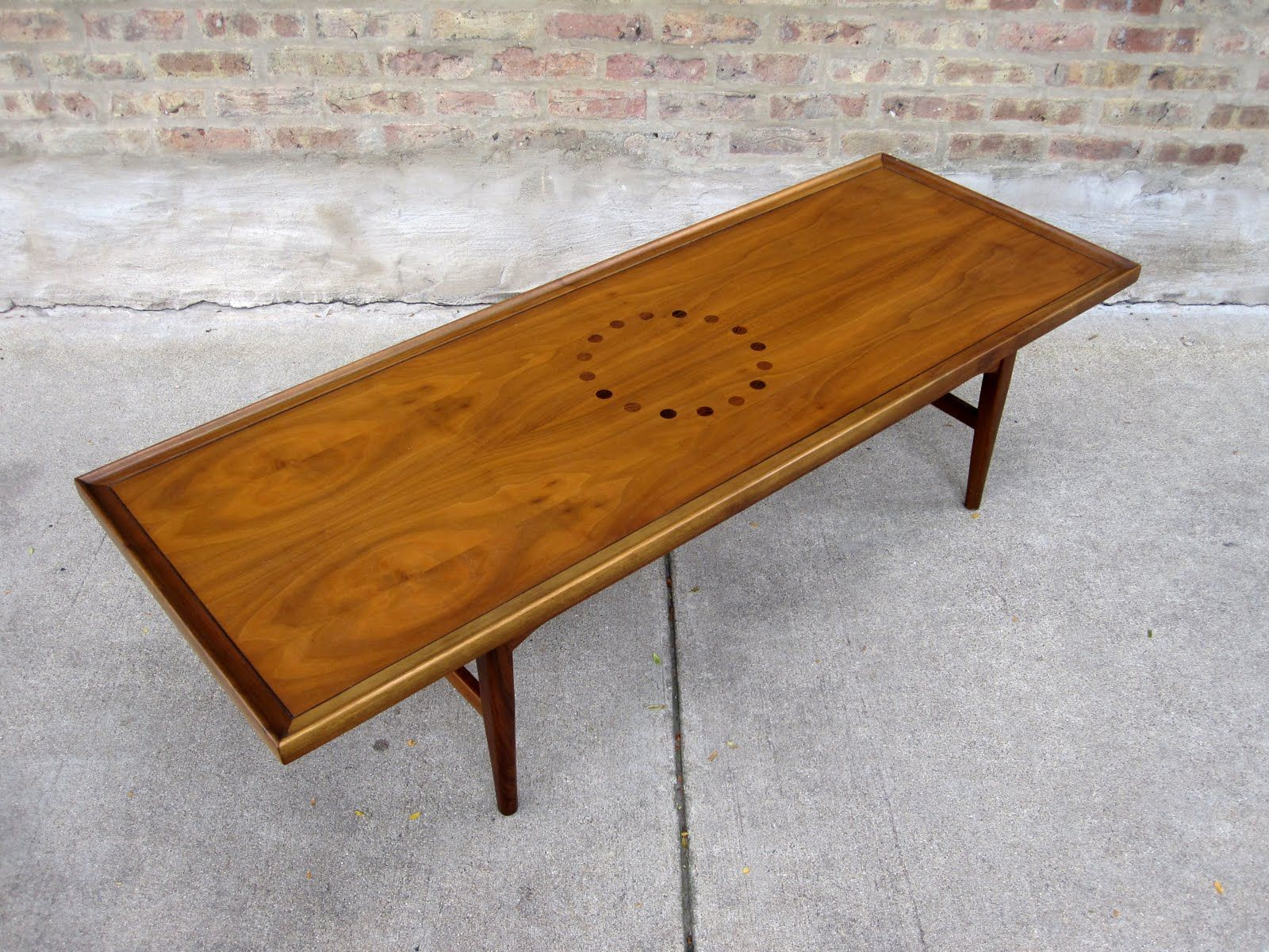 My Drexel Declaration walnut coffee table sets the long and lean
