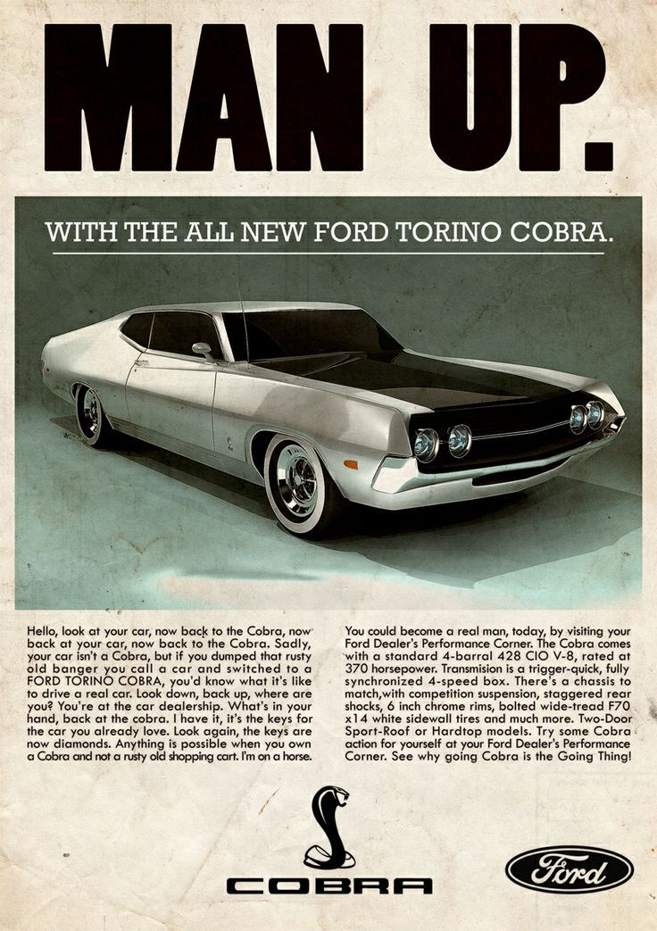 Ford Torino Cobra \'70 - vintage ad | Ford torino, Ford and Cars