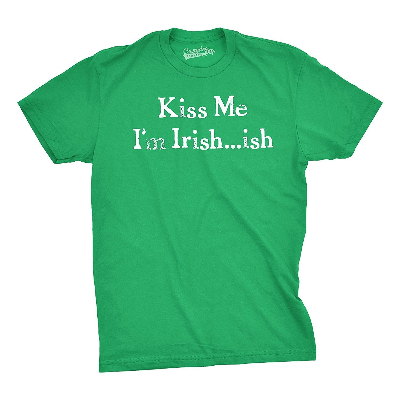 KISS ME IRISH FUNNY SLOGAN ST PATRICKS DAY T SHIRT MENS WOMENS