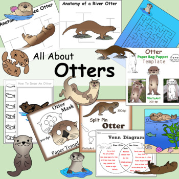 Otters Paper Crafts Activities And Clip Art Collection Clip Art Paper Bag Puppets Otters