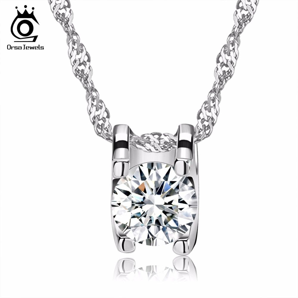 aa0cba3470b5b3 ORSA JEWELS Elegant Square Pendant with Brilliant Heart and Arrow Cut Clear  CZ Popular Zircon Pendant Necklaces for Women ON05