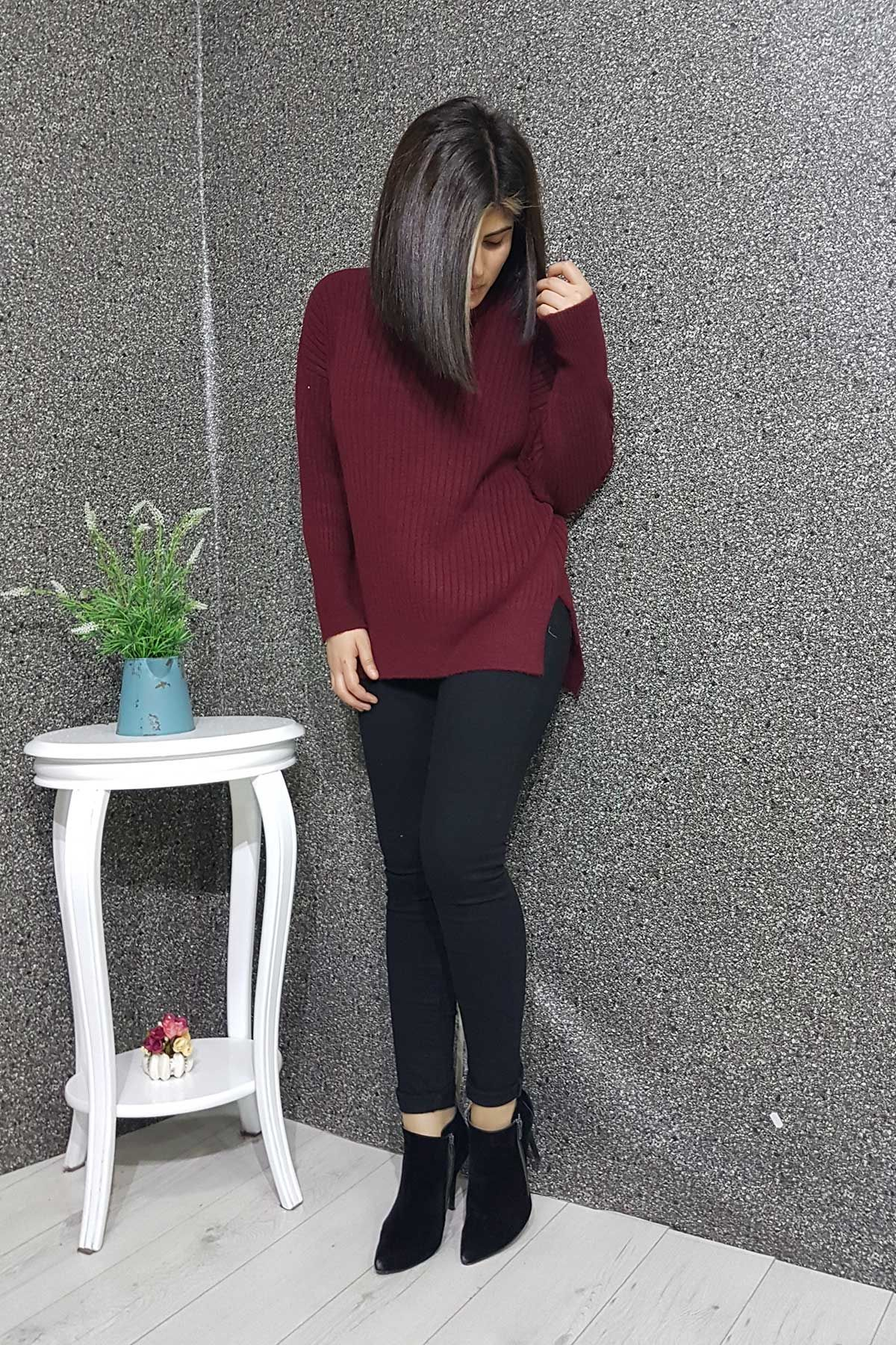 Bogazli Fitilli Bayan Yun Kazak Moda Stilleri Kadin Giyim Triko