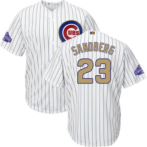 cubs 23 ryne sandberg white(blue strip) 2017 gold program cool base stitched · chicago cubsmlbyouth
