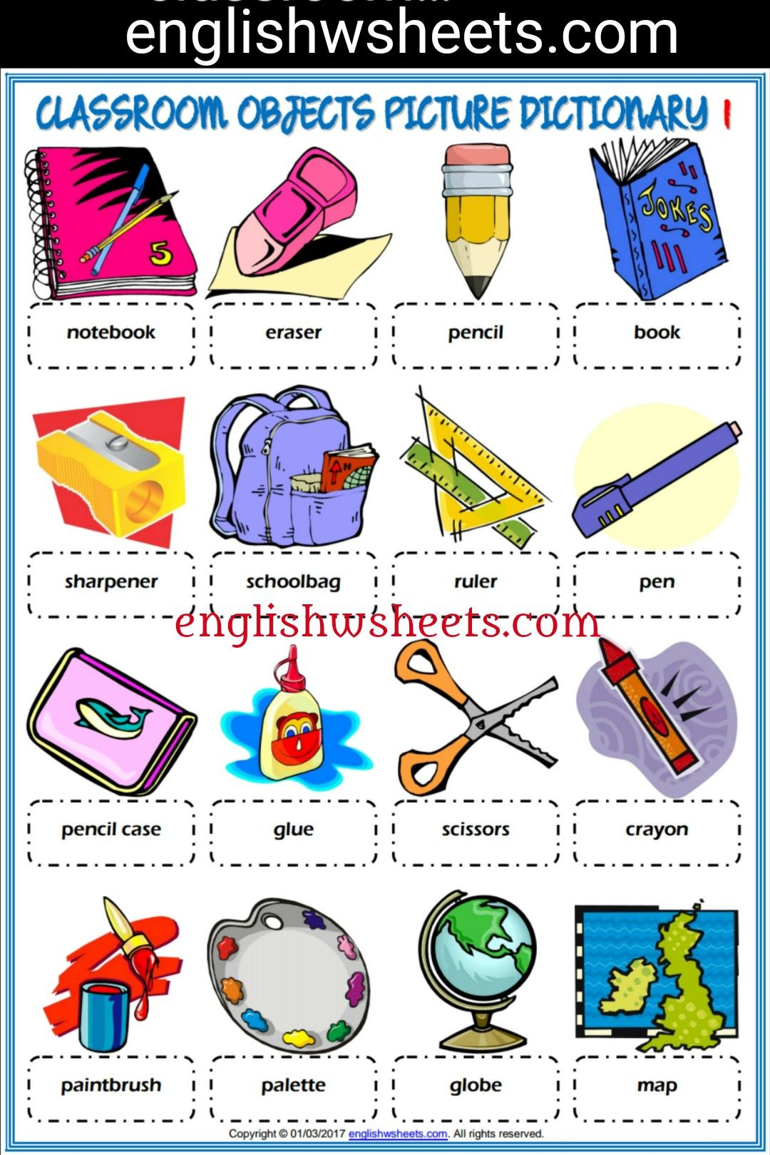 Classroom Objects Esl Printable Picture Dictionaries For