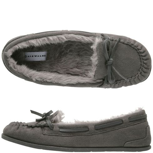 Women s Flurry Moc Airwalk Moccasins Slippers New Grey Size 8 d68388796596