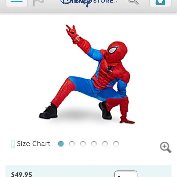 Ultimate Spider-Man Costume for kids! Bought it at Disney store. Worn once for 2 hours (my little guy) wasn't in the mood to wear it, he didn't even put on the mask and gloves. Sold out online. Disney Store Costumes