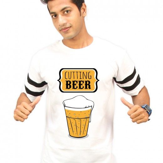 Cutting Beer White Round Neck Half Sleeves T-Shirt - High Five Clothing