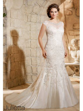 Mori Lee 3188 Soft Sparkly Lace Plus Size Wedding Gown Ivorysilver