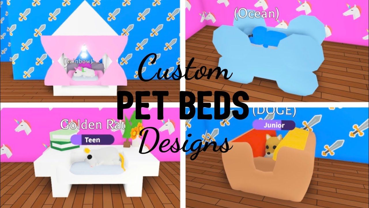 Custom Unique Pet Beds Design Ideas Building Hacks Roblox Adopt Me Custom Pet Bed Animal Room Pet Beds