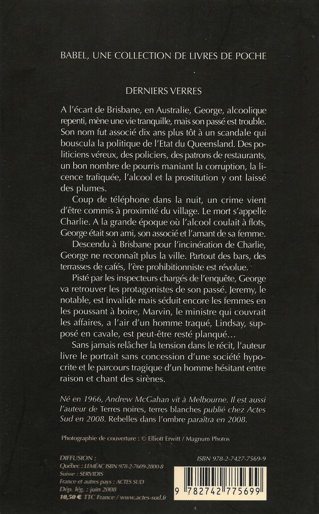 Babel Noir - 2008-06 - Andrew McGahan - Derniers Verres - Verso