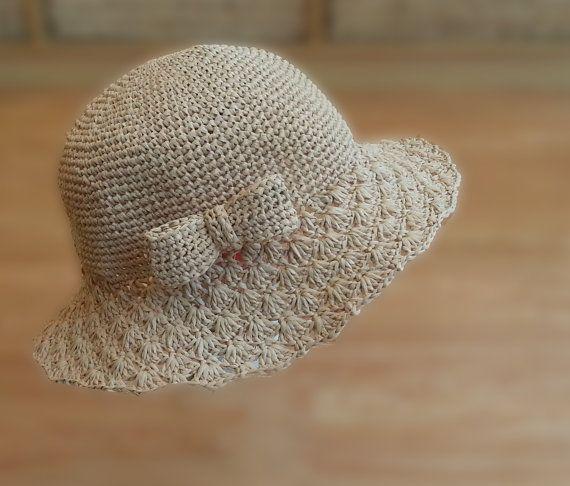 crocheted raffia straw  sun summer hatbig lace brim by BusyPaws
