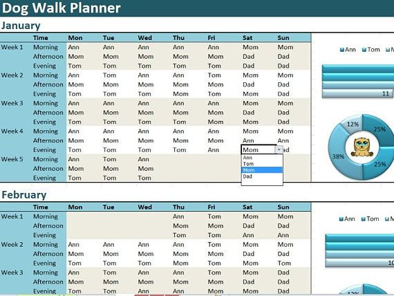Dog Walk Planner Excel Template Activity Diary Spreadsheet Excel