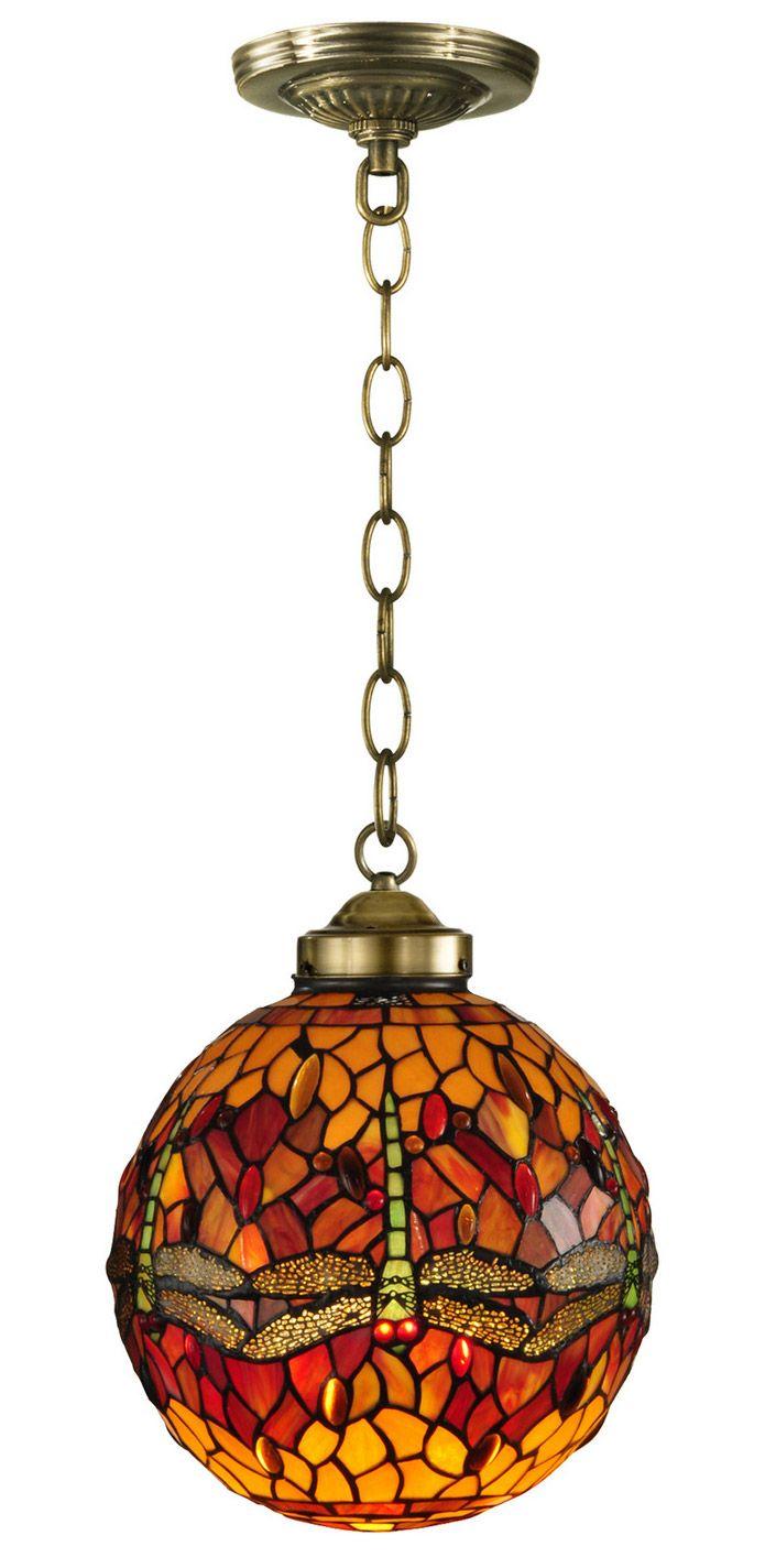Dale Tiffany Th12271 Tiffany Dragonfly Globe Pendant Stained Glass Pendant Light Glass Globe Pendant Light Hanging Pendant Lamp