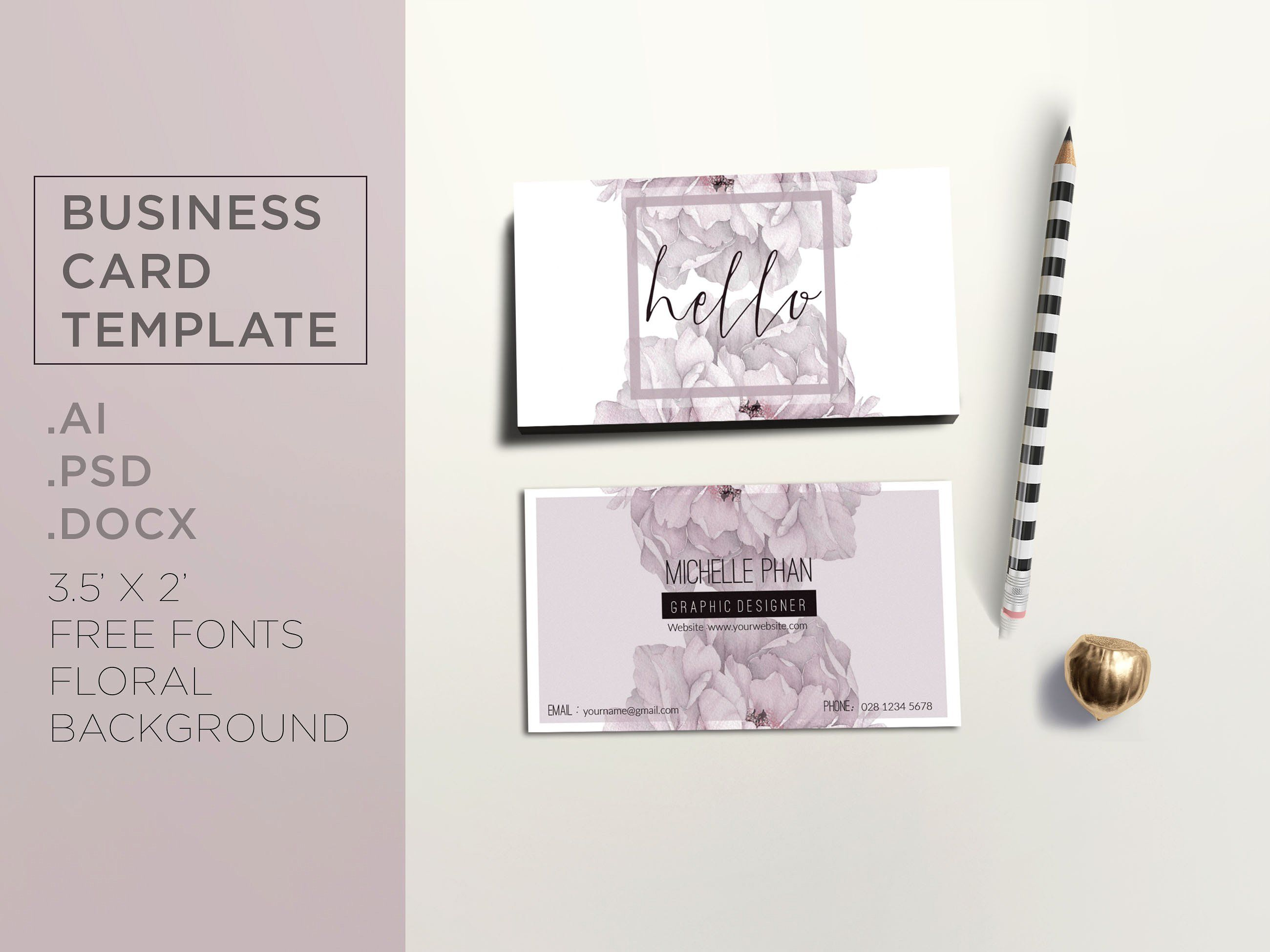 Floral business card template | Card templates, Business cards and ...