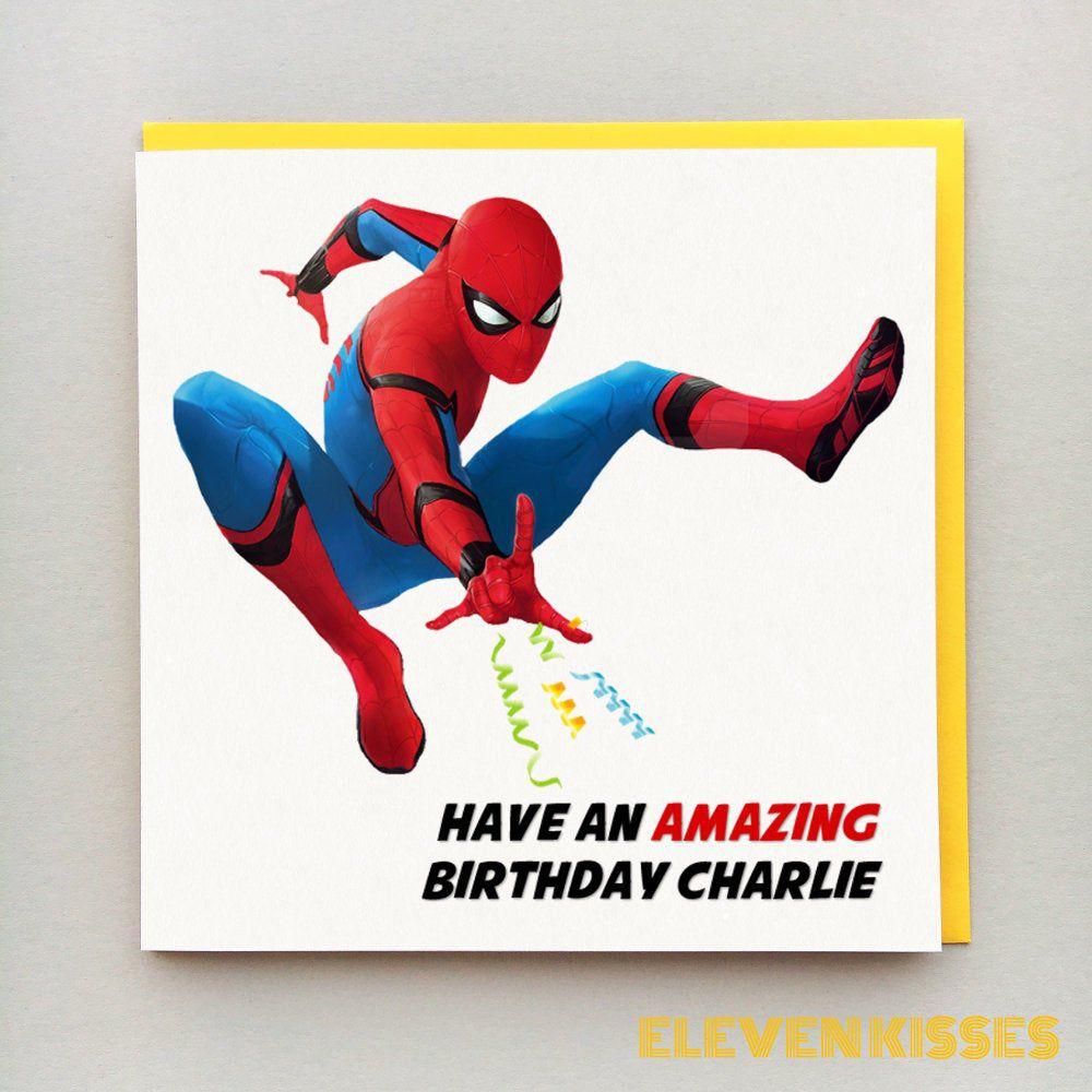 Spider Man Birthday Card Personalised Spider Man Far Etsy Birthday Cards For Men Spiderman Birthday Birthday Cards For Friends