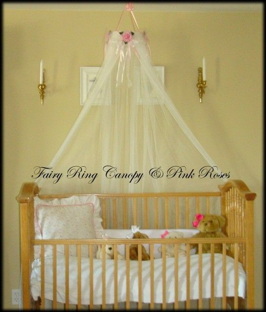 Baby Bed Crib canopy Crown WHITE SHEERS INCLUDED SaLe Princess pink roses Fairy & Baby Bed Crib canopy Crown WHITE SHEERS INCLUDED SaLe Princess ...