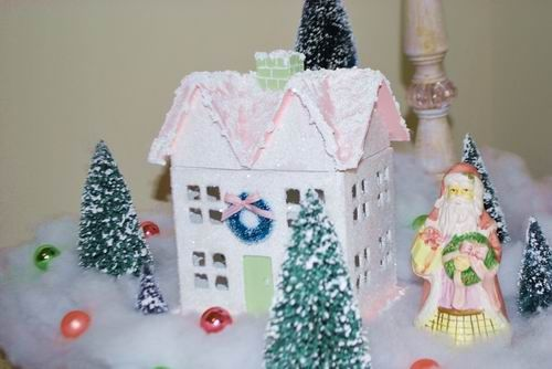 Pink glittery Christmas house