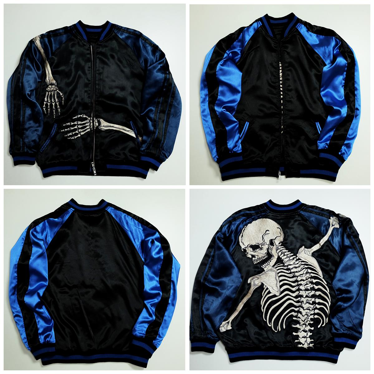Vintage Japanese Japan Royal Blue Skeleton Skull Punk Rock Yokosuka Jumper Tattoo Art Embroidery Embroidered Bomber Sukajan Souvenir Jacket Tour Jacket Size Souvenir Jacket Jackets Custom Clothes [ 1200 x 1200 Pixel ]