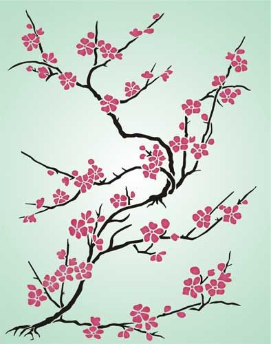 Cherry Blossom Japanese Stencil Design From Stencil Kingdom Cherry Blossom Art Cherry Blossom Drawing Blossoms Art