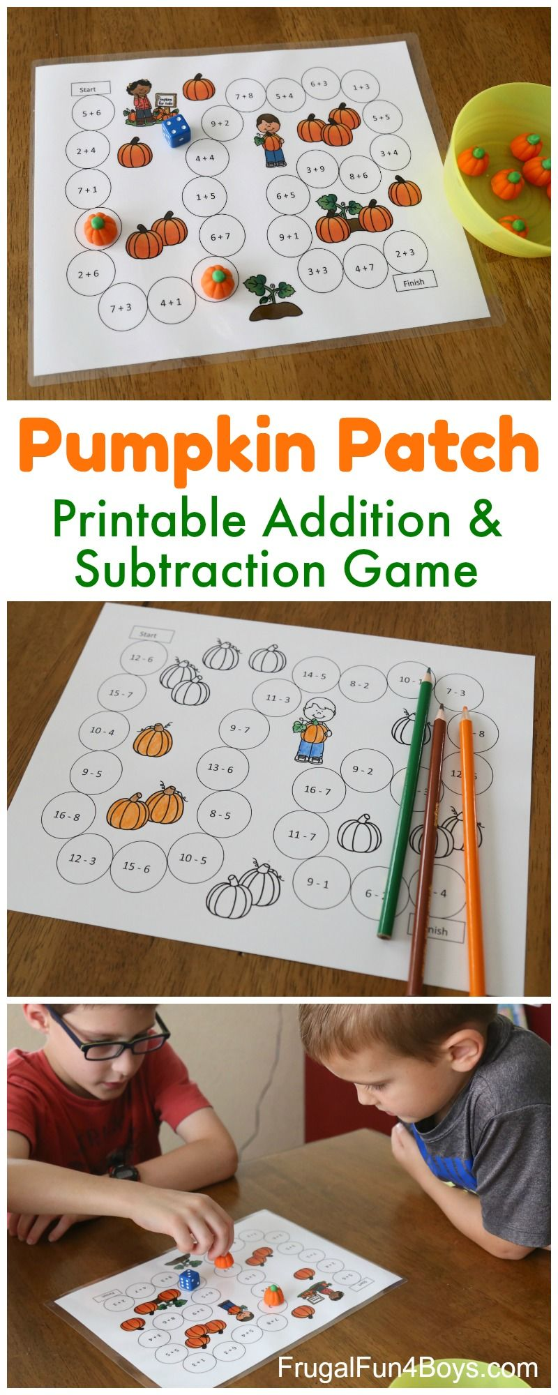 Pumpkin Patch Addition And Subtraction Math Game Frugal Fun For Boys And Girls Subtraction Games Halloween Math Games Math Games Addition and subtraction board game ks1