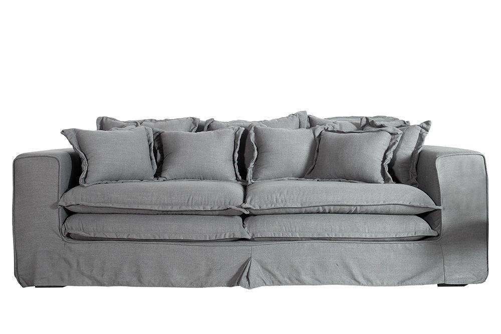 Xxxl Hussensofa Cloud Olivgrau Leinen Stoff Hussen 230cm Riess Ambiente De Sofa Couch Xxl Sofa Sofa Design