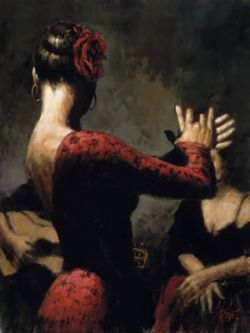 Spanish dancer in red by Fabian Perez