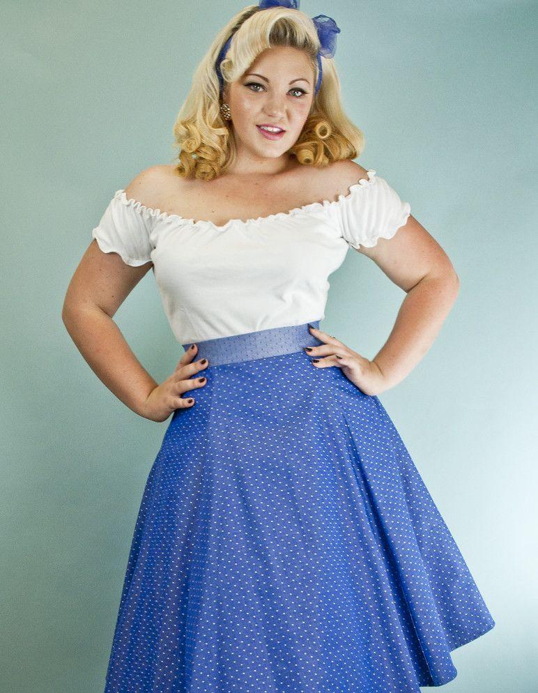 Twirl Skirt - Chambray Pin Dot Blue