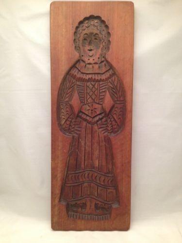 Antique Primitive Dutch Hand Carved Wood Cookie Springerle Wooden Mold
