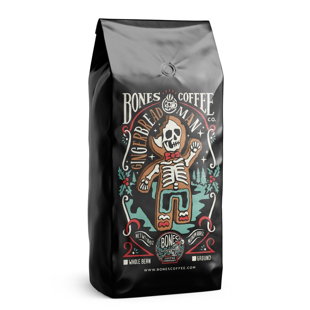 Gingerbread Man By Bones Coffee Company 16 Oz Coffee Coffee Label Eggnog Coffee