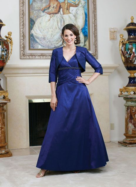 V-neck taffeta dress for mother of the bride with empire waist ...