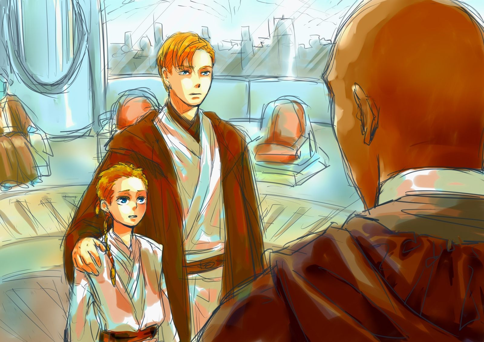 Obi-Wan and his young padawan Anakin in the presence of Master ...