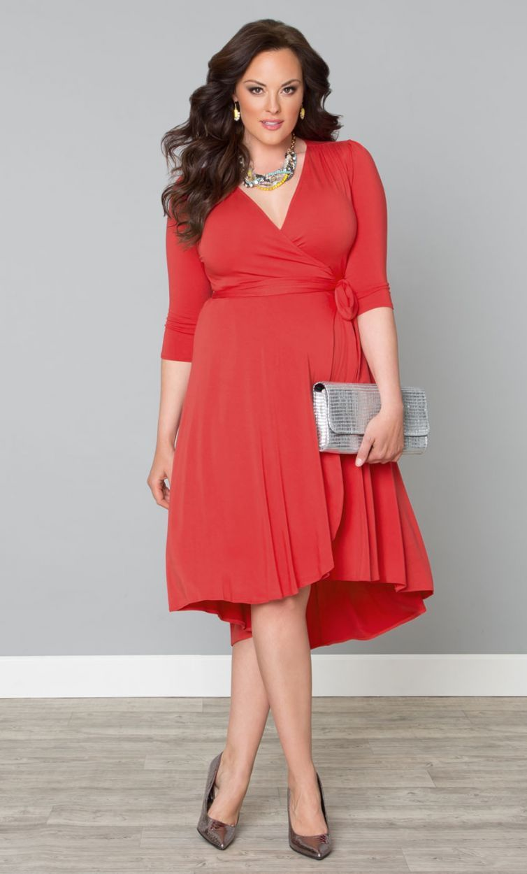 Trendy winona hi lo wrap dress coral reef womens plus for Plus size coral dress for wedding