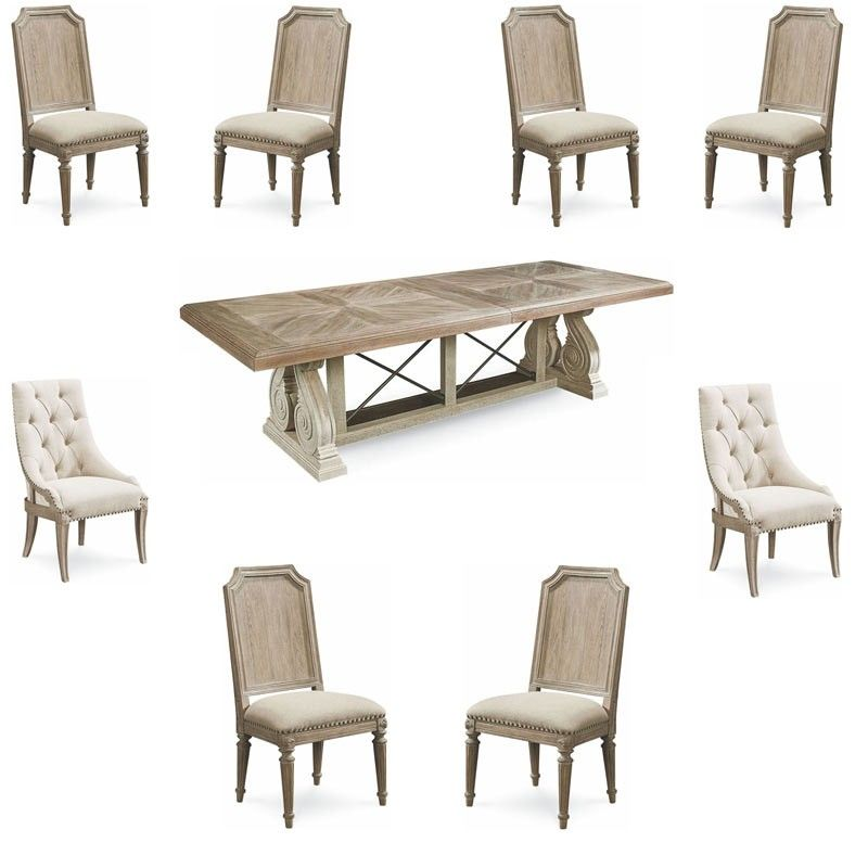 Art Furniture Arch Salvage Parchment Pearce 9 Piece Extendable Rectangular Dining Room Set 233221 2802 9set Rectangular Dining Room Set Art Furniture Furniture