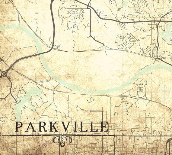 PARKVILLE MO Canvas Print Missouri Vintage map by NatalyBorichArt ...