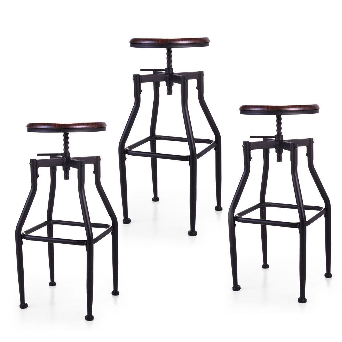 Excellent 1 2 3 Set Height Adjustable Industrial Swivel Metal Counter Pdpeps Interior Chair Design Pdpepsorg