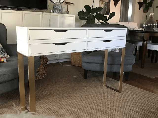 Very Fancy This Makeup Table Is Made Out Of Two Ekby Alex Shelves Ikea Hack Vanity Ikea Vanity Ikea Dressing Table