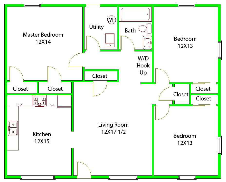 3 Bedroom Floorplans | Court Neighborhood Resourses:
