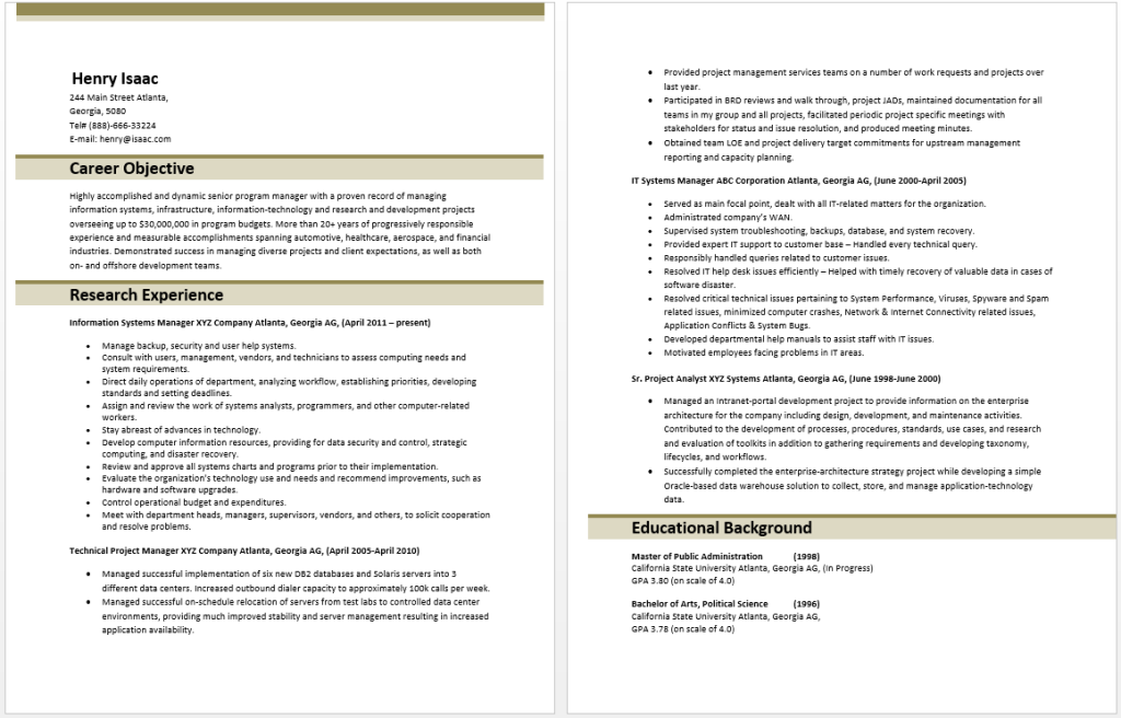 Technology Manager Resume  Manager Resume Samples