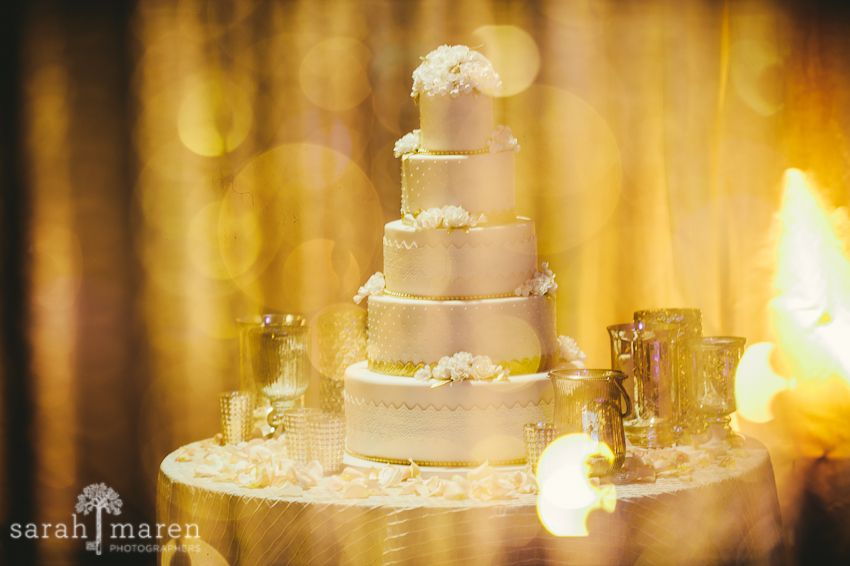 Crocker Art Museum Wedding Photos - white and gold leaf wedding cake ...