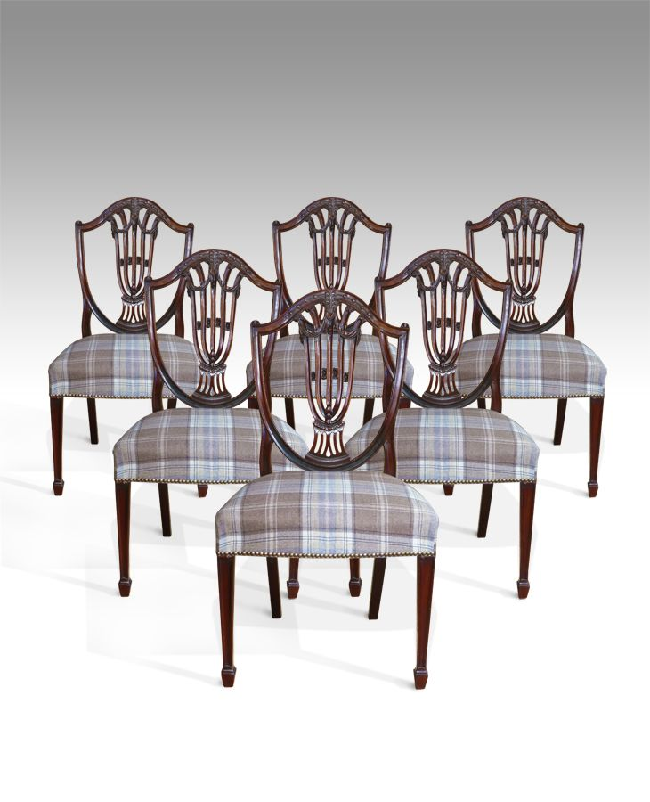 Antique Dining Chairs - Fine quality set of six Hepplewhite period ...
