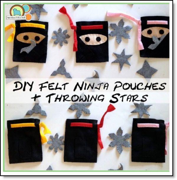 DIY Felt Ninja pouches and throwing stars tutorial