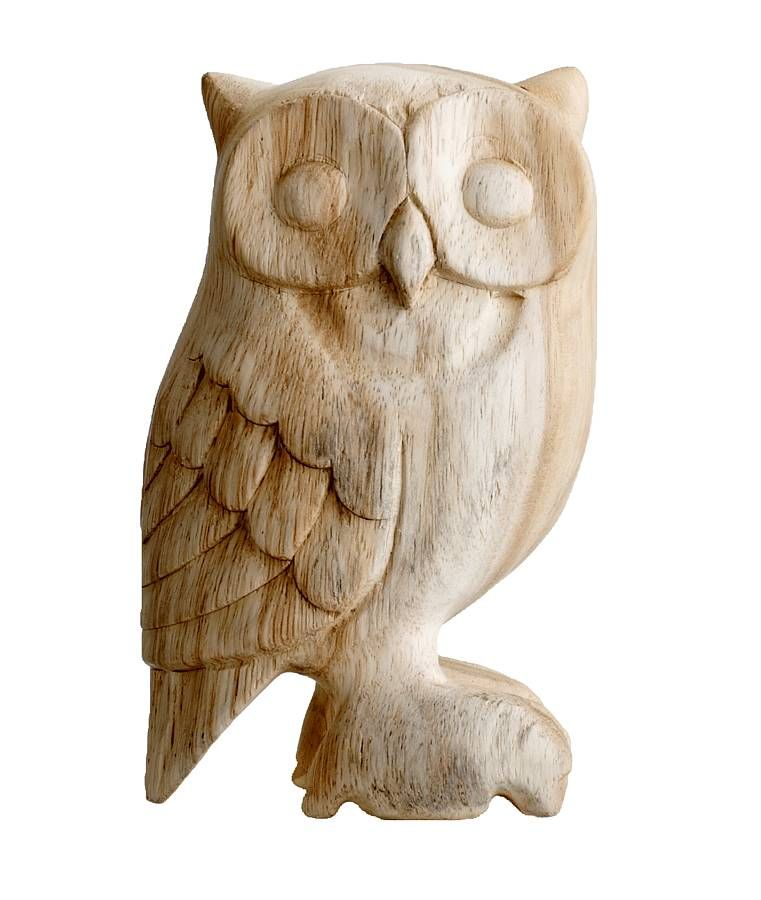 Hand carved wooden owl and wood carving