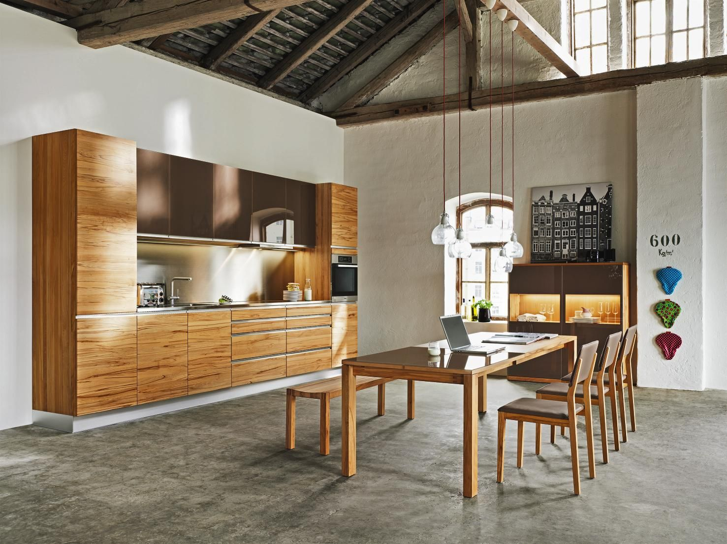 TEAM 7 Einbauküche in natürlichem Braun modernes und
