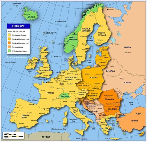 detailed clear large political map of europe continent showing countries location capitals cities towns and political boundaries with neighbouring
