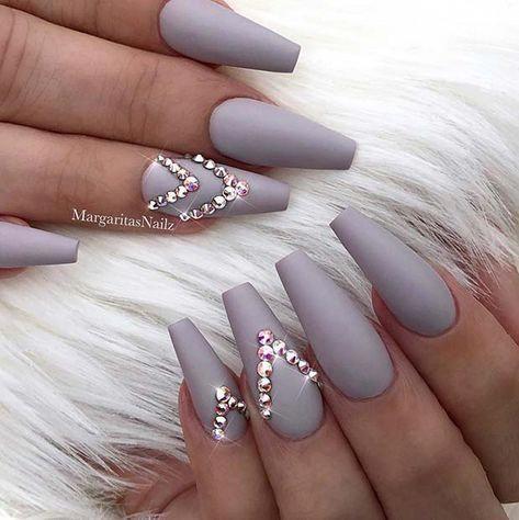 Matte Coffin Nails With Rhinestones Elegantnails In 2020 Nails Design With Rhinestones Elegant Nails Matte Nails Design