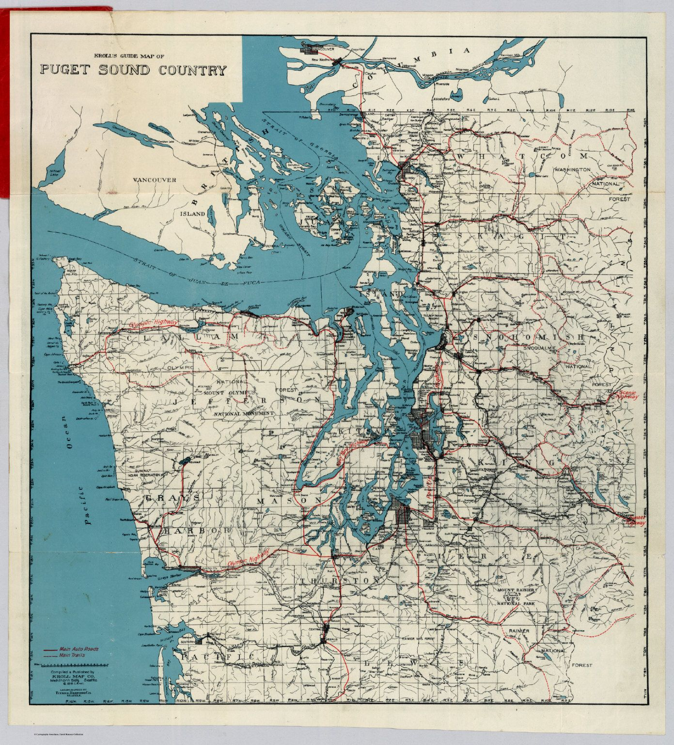 Krolls guide map of puget sound country compiled published by krolls guide map of puget sound country compiled published by kroll map co sciox Choice Image