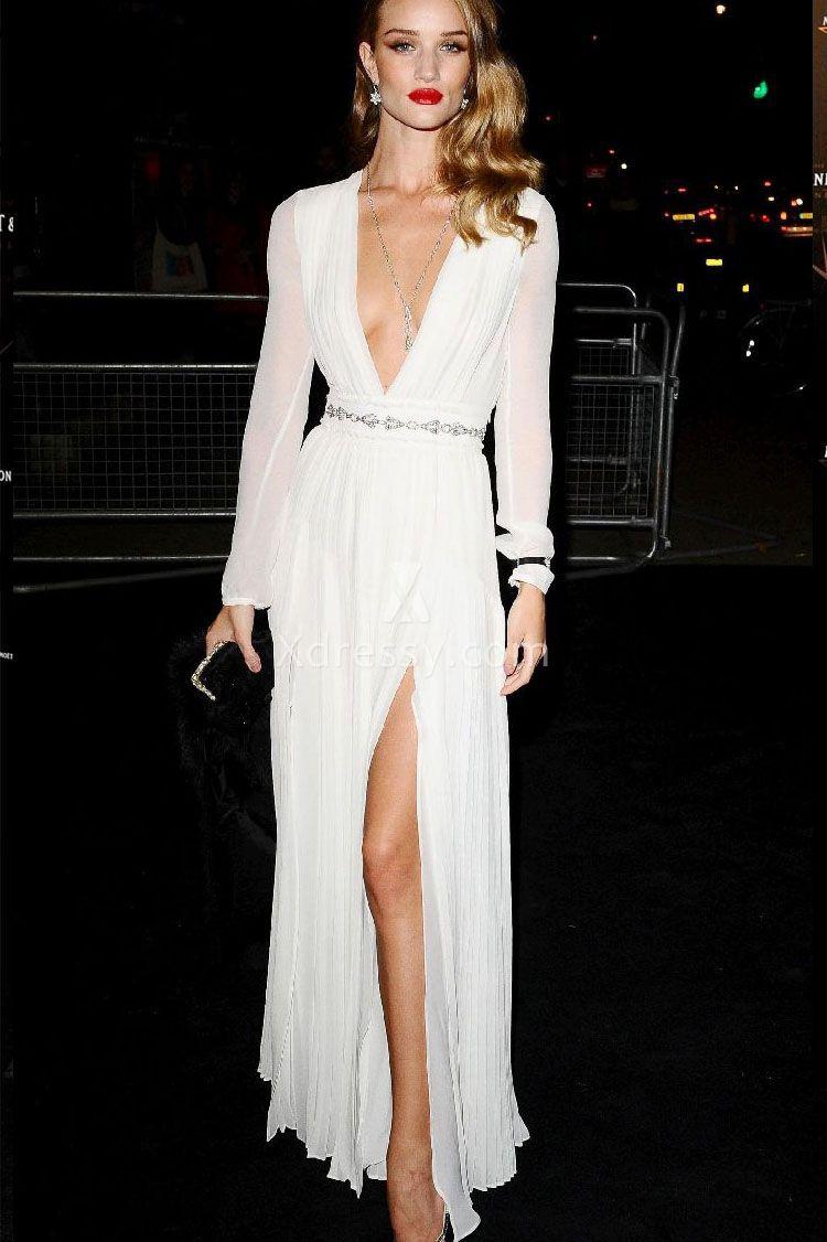 Rosie Huntington-Whiteley White Long Sleeve Formal Evening Dress ...