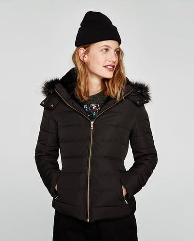 Abrigo plumas negro mujer zara