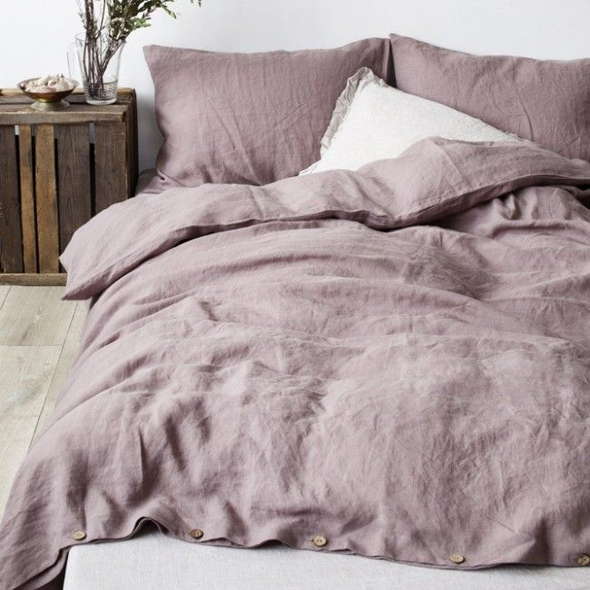 Ashes Of Roses Stone Washed Linen Duvet Cover Linen Tales Bett