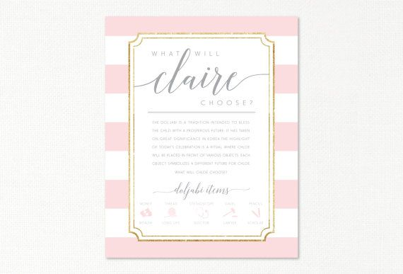 Doljabi board with explanation korean first birthday le petit doljabi board with explanation korean first birthday le petit lady dohl custom printable poster blush gold stripes stopboris Image collections